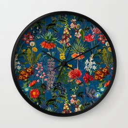 Vintage & Shabby Chic - Blue Midnight Spring Botancial Flower Garden Wall Clock