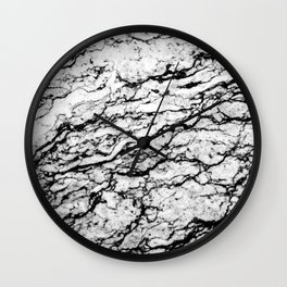 Black and White Marble Stone Pattern Wall Clock
