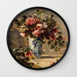 Pierre-Auguste Renoir's Roses and Jasmine in a Delft Vase Wall Clock