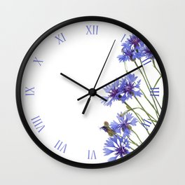 Blue cornflowers blooming macro Wall Clock