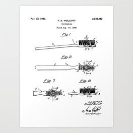 Toothbrush Patent - Bathroom Art - Black And White Art Print