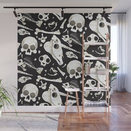 black Skulls and Bones - Wunderkammer Wall Mural