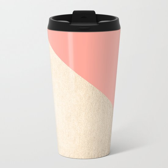 Simply Shadow in White Gold Sands on Salmon Pink Metal Travel Mug