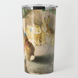 Bunnies roasting apples over an open fire Travel Mug