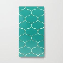 Ogee pattern aqua Metal Print