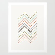 Mixed Zig Zag - in Mint Art Print