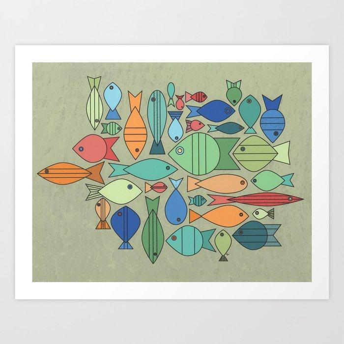 Retro Fish White Art Print