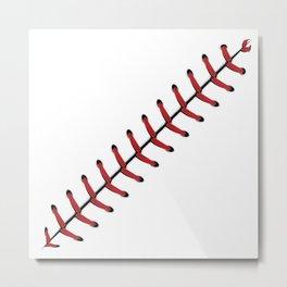 Baseball Lace line Metal Print