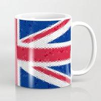 british flag Mugs featuring British flag mosaic by Zora Zora
