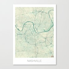 Nashville Map Blue Vintage Canvas Print