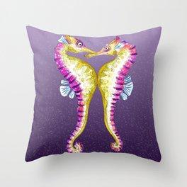 Seahorse Kiss Purple Throw Pillow