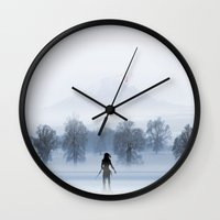 mother of dragons Wall Clocks featuring Dragons by Tony Vazquez