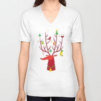 reindeer V-neck T-shirts featuring Reindeer by Wharton