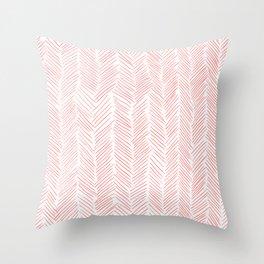 Living Coral Herringbone Throw Pillow