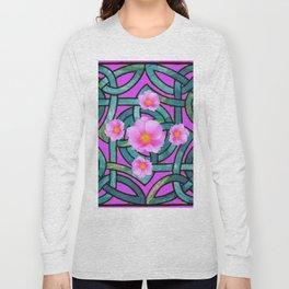 Mystical Wild Pink Celtic Roses Teal Purple Art Long Sleeve T-shirt