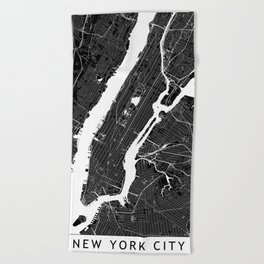 New York City Black And White Map Beach Towel