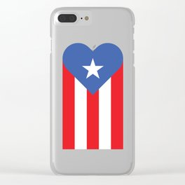 Puerto Rico Heart Flag Clear iPhone Case