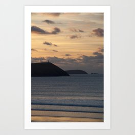 Evening Skies Over Polzeath Art Print