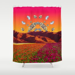 Crystal Sunset by Kooky Collages Shower Curtain