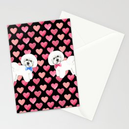 Bichon Frise Valentines Day Love Hearts Stationery Cards