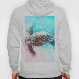 Sea Turtle Abstract Watercolor Painting Hoody