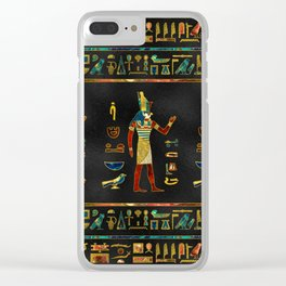 Egyptian  Gold, Teal and Red  glass pattern Clear iPhone Case