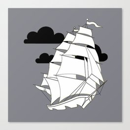Sailboat Gray Canvas Print