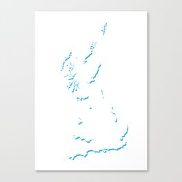 Great Britain Silhouette Shadow Map Art in Bright Blue Canvas Print