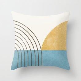 Sunny Ocean Horizon Throw Pillow