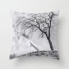ON THE BRINK (graphite) / Møns Klint, Denmark Throw Pillow