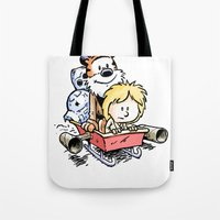 hobbes Tote Bags featuring Not the Droids! by Billy Allison