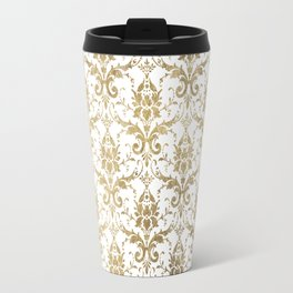 Elegant vintage white faux gold floral boutique damask Travel Mug