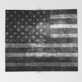 Black and White USA Flag in Grunge Throw Blanket