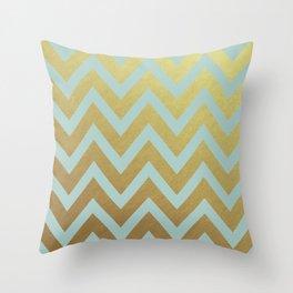 robins egg blue and gold chevron Throw Pillow