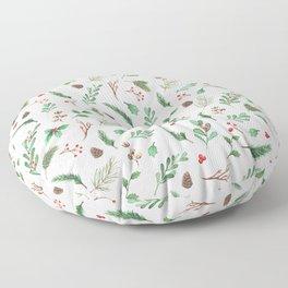 Winter Greens & Berries Floor Pillow