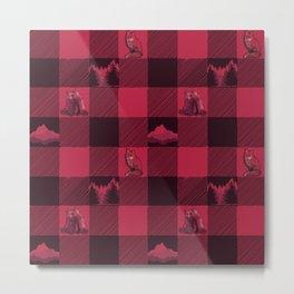 Fox and Bear Plaid #2 RED Metal Print