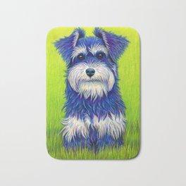 Colorful Miniature Schnauzer Dog Pet Portrait Bath Mat