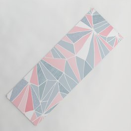 Cool blue/grey and pink geometric prism pattern Yoga Mat