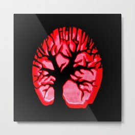 Happy halloweeN. Brain Tree Red Metal Print