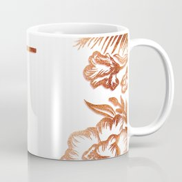 Letter T - Faux Rose Gold Glitter Flowers Coffee Mug