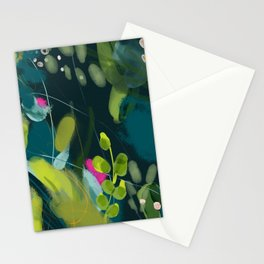 abstract jungle fever leaves in floral green Stationery Cards