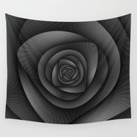 labyrinth Wall Tapestries featuring Spiral Labyrinth in Monochrome by Objowl