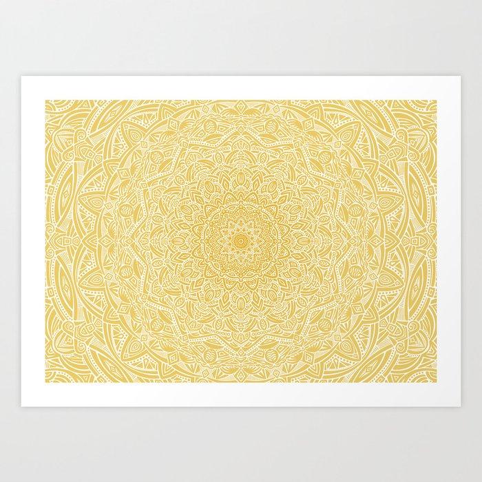 Most Detailed Mandala! Yellow Golden Color Intricate Detail Ethnic Mandalas Zentangle Maze Pattern Art Print
