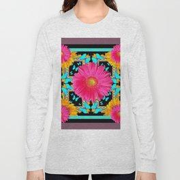Western Black & Puce Pink Flower Blue Butterfly Yellow Floral Art Long Sleeve T-shirt