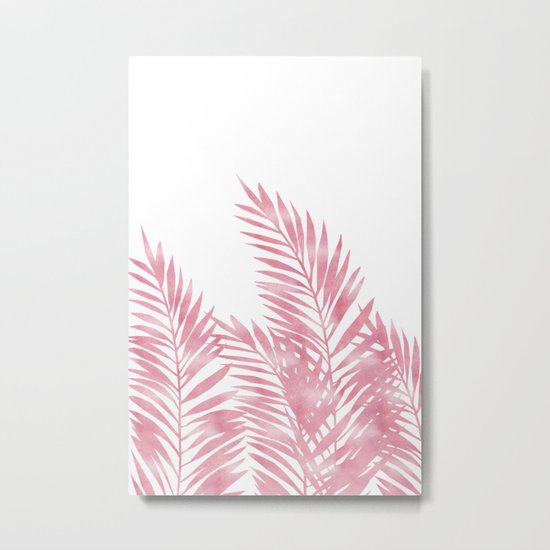 Palm Leaves Pink Metal Print