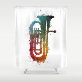 euphonium music art Shower Curtain