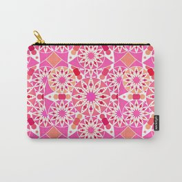 Mandala Pattern, Fuchsia, Coral and Peach Carry-All Pouch