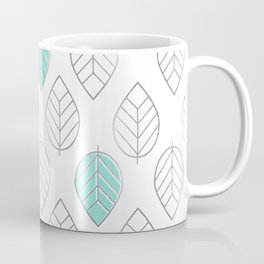 Silver Foil & Mint Leaves Pattern Coffee Mug