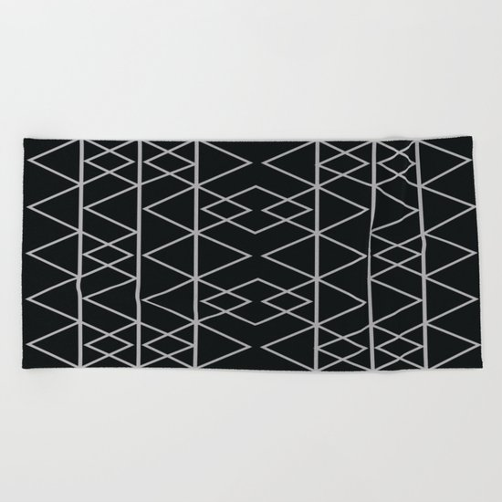 Triangles In Silver Beach Towel