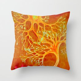 Synapses between a healthey neuron and a neuron with multiple sclerosis Throw Pillow